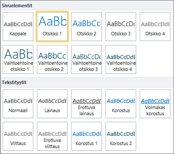 Näyttökuva sivuelementeistä ja tekstityyleistä, jotka ovat käytettävissä SharePoint Onlinen valintanauhan Tyylit-ryhmässä.