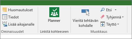 Kuva Planner-painikkeesta Tehtävä-valintanauhassa