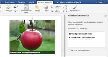 Word-asiakirja, jossa on kuva ja vaihtoehtoisen tekstin ruutu oikealla