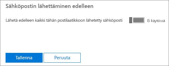 Näyttökuvassa näkyy Liisi Pyysalo -nimisen käyttäjän käyttäjäprofiilisivu, jossa sähköpostin edelleenlähetys on käytössä ja muokkaus käytettävissä.