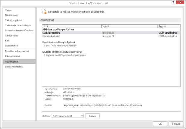 Office-apuohjelmien hallintaruutu, jossa on Luokan muistikirja valittuna. COM-apuohjelmien hallinta ja Siirry-painike.