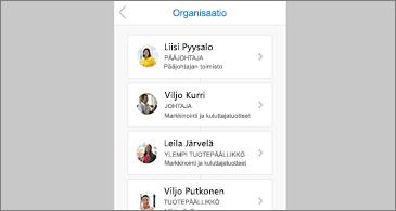 Valitun yhteyshenkilön organisaatiokaavio