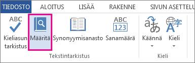 Kuva Tarkista-välilehden Määritä-komennosta