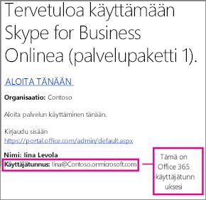 Esimerkki tervetuliaissähköpostista, jonka olet saanut Skype for Business Onlineen rekisteröitymisen jälkeen. Se sisältää Office 365 -käyttäjätunnuksesi.