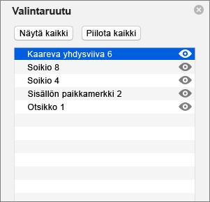 Näyttää valintaruudun PowerPoint 2016 for Macissa