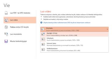Vientivalintaikkunan näyttökuva, jossa näkyvät käytettävissä olevat vaihtoehdot esitykseen perustuvaa videota luotaessa