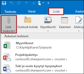 Tiedoston liittäminen sähköpostiviestiin Outlook 2016:ssa - Outlook
