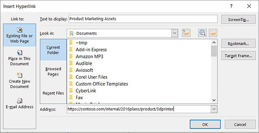Näyttökuva Lisää hyperlinkki -valintaruudusta ja Kohdeohjeen teksti -valintaikkunasta