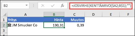 """Noutaa yrityksen osakekurssin ja ohittaa virheet kaavassa =JOSVIRHE(KENTTÄARVO($A2,B$1),"""""""")"""