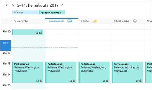 Näyttökuva Outlook-kalenterista, jossa näkyy jaettu perheen tapahtuma