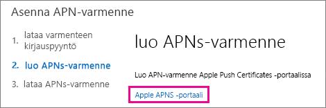 Luo sertifikaatti siirtymällä Apple Push Certificate -portaaliin.