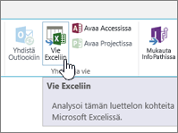 SharePointin Vie Exceliin -painike korostettuna valintanauhassa