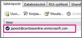 Tili Outlook 2013:n Tiliasetukset-valintaikkunassa