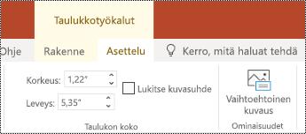 PowerPoint Onlinen taulukon valintanauhan Vaihtoehtoinen teksti -painike.