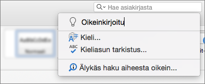 Kerro minulle hakuruutu Word for Mac 2016: ssa
