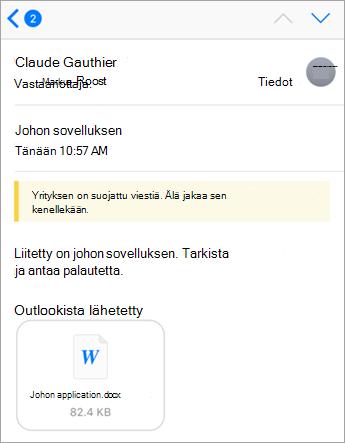 Turvallisuusohjeet: yrityksesi on suojannut tämän viestin Office 365-puhelimella.