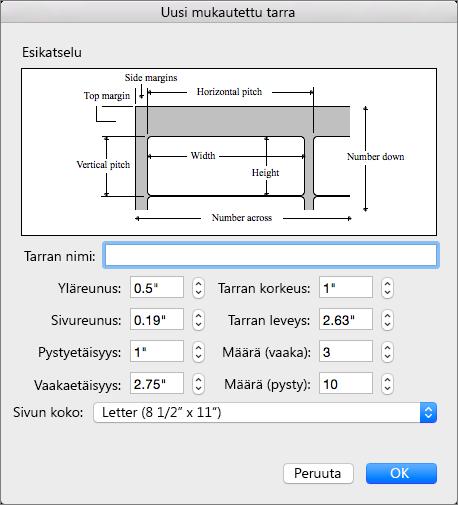 Määritä mitat vastaamaan tulostettavia tarroja.