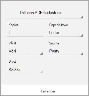 Tallenna PDF-muodossa