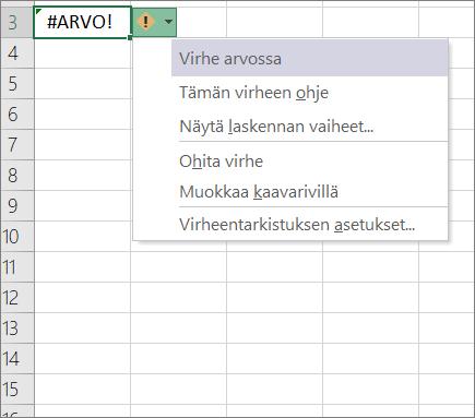 Avattavan luettelon jäljitys arvo-kuvakkeen vieressä näkyvä