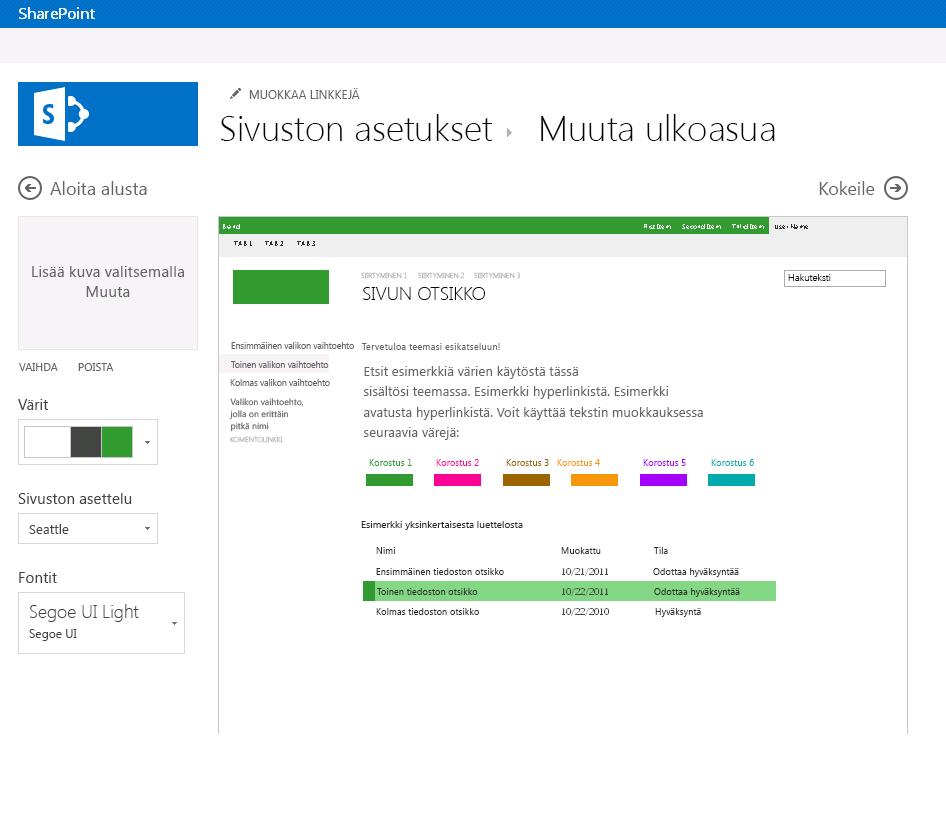 Muuta SharePoint-julkaisusivuston väriä, asettelua ja teemaa