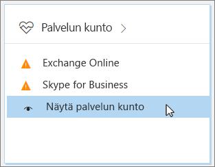 """Näyttökuva, jossa """"Näytä palvelun kunto"""" -vaihtoehto on valittuna Office 365 -hallintakeskuksessa."""