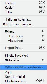 Vaihtoehtoinen teksti-vaihtoehto Wordissa pikavalikosta