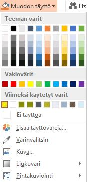 Avattava Muodon täyttö -valikko, jossa näkyy Värinvalitsin