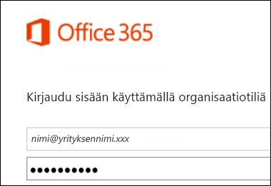 Office 365 -portaalin kirjautumisruutu