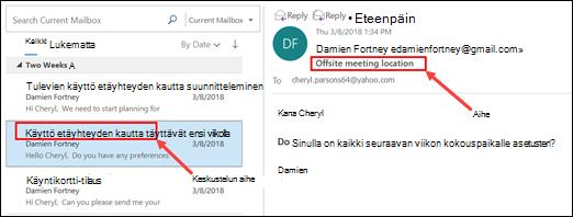Outlookin Ryhmittelee viestit viestiluettelosta keskustelun aiheen mukaan.