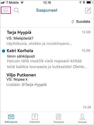 Outlook Mobilen aloitusnäyttö valikko-painike korostettuna
