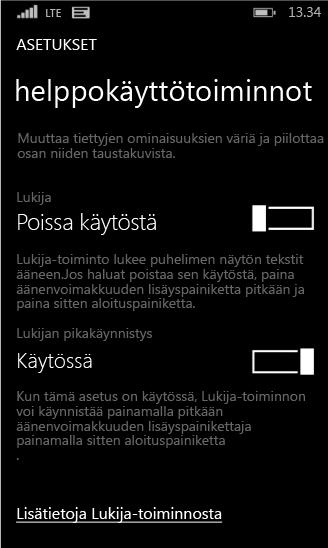 Windows Phonen lukijan asetukset