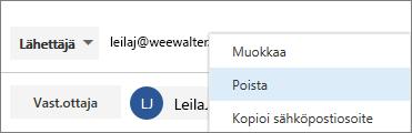 Poista LÄHETTÄJÄ-alias.