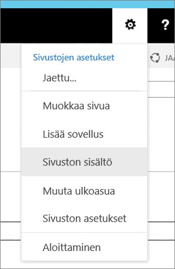 Asetukset-valikko, jossa Sivuston sisältö on korostettu