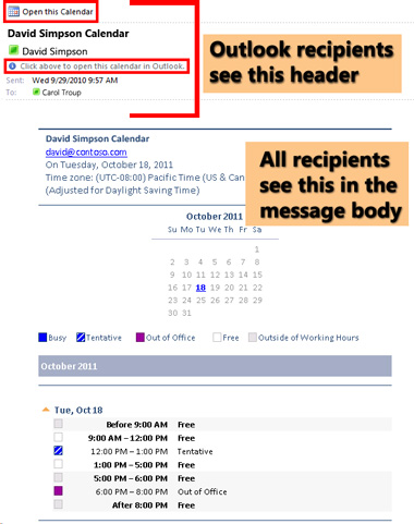 Esimerkki Lähetä kalenteri sähköpostitse -toiminnon avulla lähetetystä kalenterista