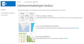 SharePoint Onlinen liiketoimintatietokeskuksen sivuston aloitussivu