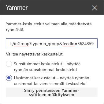 Yammer-ominaisuusruutu
