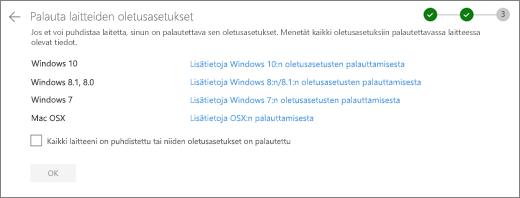 Näyttö kuva OneDrive-sivuston Rest Devices-näytöstä