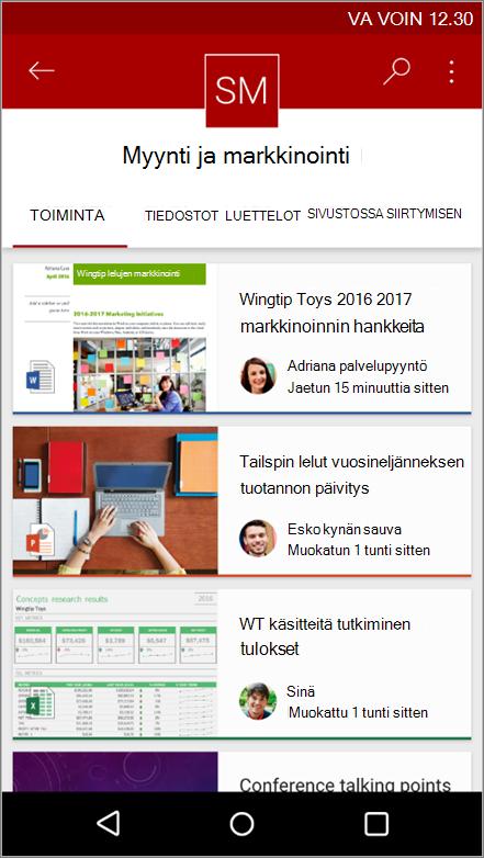 Näyttökuva Android-mobiilisovelluksesta, jossa näkyy sivuston tapahtumia, tiedosto, luetteloita ja siirtymisruutu