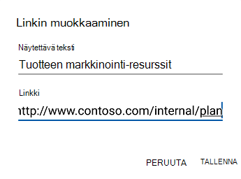 Outlook for Androidin hyperlinkin teksti-valinta ikkuna