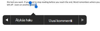 Napauta Uusi kommentti, kun olet valinnut tekstin Wordissa