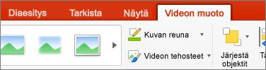 Näyttää PowerPoint 2016 for Macin Videomuoto-välilehden
