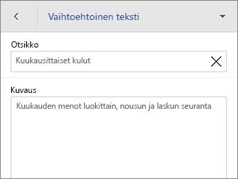 Taulukko-välilehden Vaihtoehtoinen teksti -komento