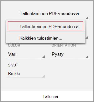 Valitse Tallenna PDF-tiedostona