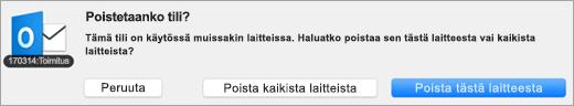 Näyttökuva Poista tili -painikkeesta.