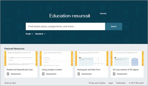Education resurssien aloitusnäyttö