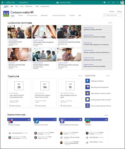 SharePoint-pääsivuston