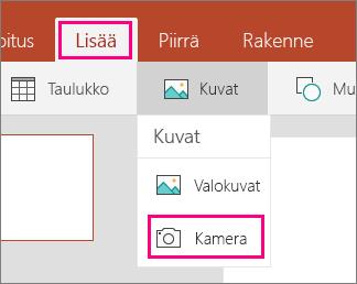 Kuvan lisääminen kamerasta -vaihtoehto Office Mobile for Windows 10:ssä