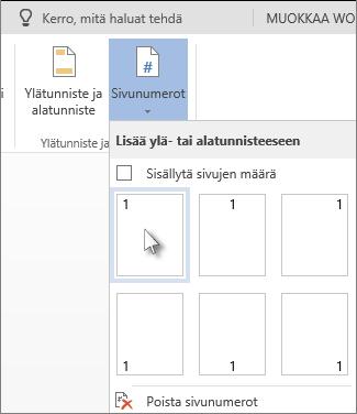 Kuva sivunumerovalikoimasta, joka avataan valitsemalla Lisää-välilehden Sivunumerot.