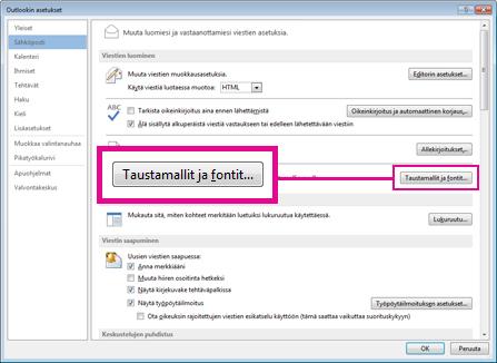 Outlookin Asetukset-valintaikkunan Taustamalli ja fontit -komento