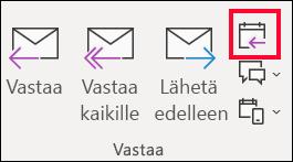Valitse sähköpostiviestissä Vastaa kokouksella.